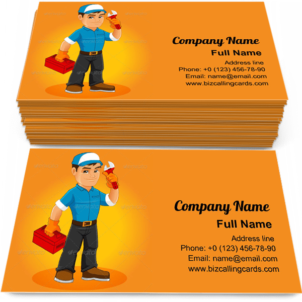 Sample of Handyman Mascot calling card design for advertisements marketing ideas and promote maintenance worker branding identity
