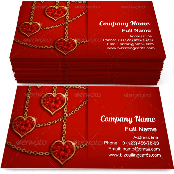 Sample of Hearts on Chains business card design for advertisements marketing ideas and promote luxury invitation branding identity
