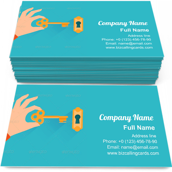 Sample of Holding Golden Key business card design for advertisements marketing ideas and promote real estate branding identity