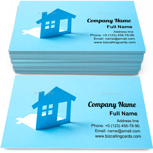 Sample of House in paper business card design for advertisements marketing ideas and promote property branding identity