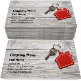 House key with red keychain Business Card Template