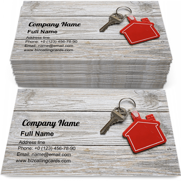 Sample of House key with red keychain business card design for advertisements marketing ideas and promote moving home or renting property branding identity
