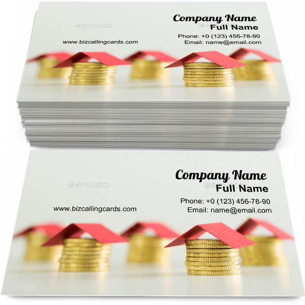 Sample of Houses made from coins business card design for advertisements marketing ideas and promote development branding identity