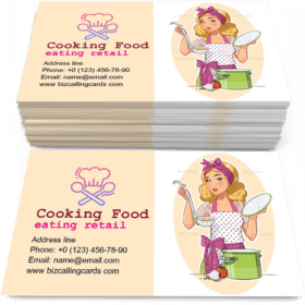 Housewife Girl Cooking Food Business Card Template