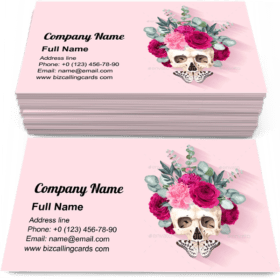 Human Skull and Flowers Business Card Template