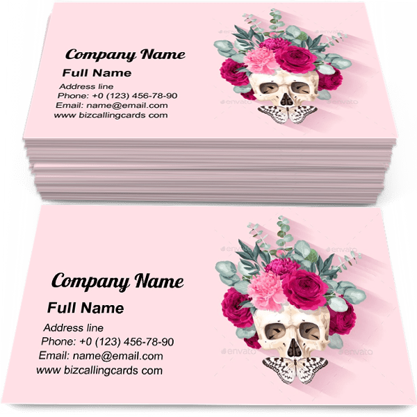 Sample of Human Skull and Flowers calling card design for advertisements marketing ideas and promote greenery service branding identity