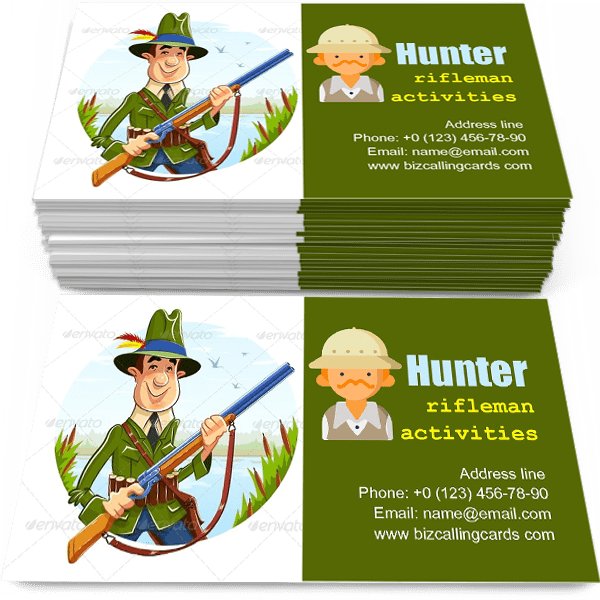 Sample of Hunter Man with Rifle calling card design for advertisements marketing ideas and promote rifleman activities branding identity