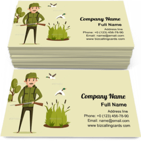 Hunter With Rifle Business Card Template