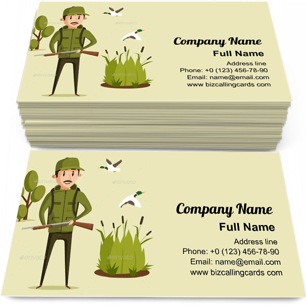 Sample of Hunter With Rifle calling card design for advertisements marketing ideas and promote  hunting branding identity