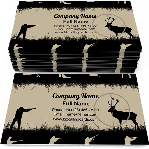 Sample of Hunters and Animals business card design for advertisements marketing ideas and promote hunter branding identity