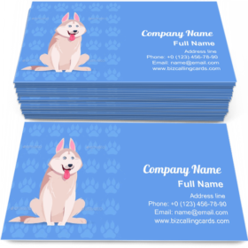 Husky Cartoon Business Card Template