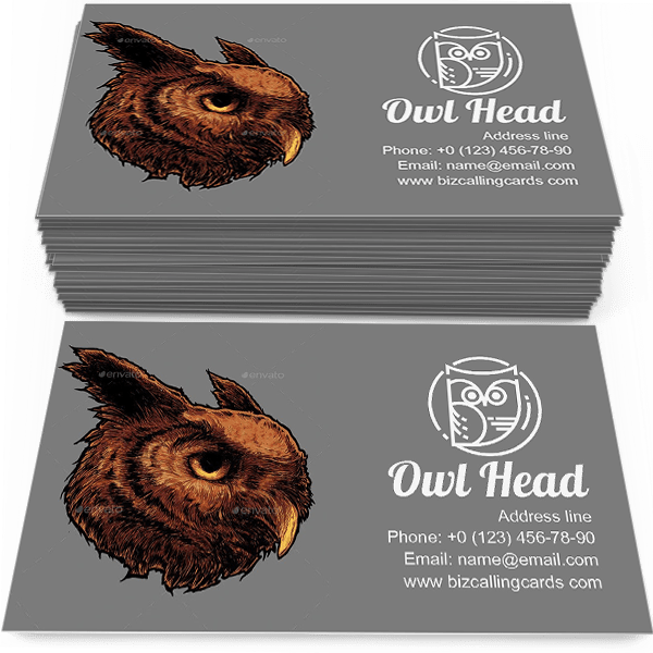 Illustration of owl head Business Card Template