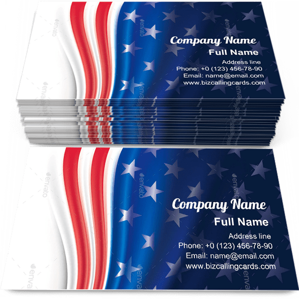 Sample of Independence Day business card design for advertisements marketing ideas and promote united states of america branding identity