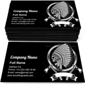 Indian Chief Skull Business Card Template