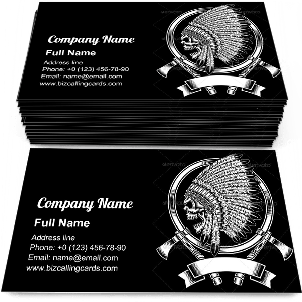 Sample of Indian Chief Skull business card design for advertisements marketing ideas and promote american indian branding identity