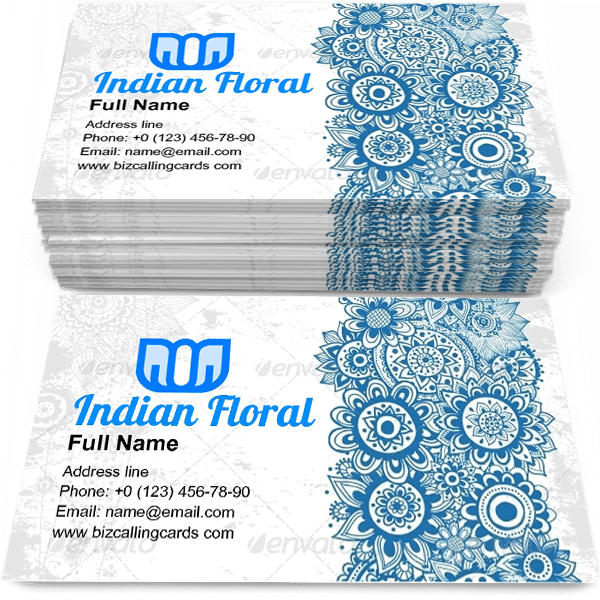 Sample of Indian Floral Ornament calling card design for advertisements marketing ideas and promote ethnic mastership branding identity