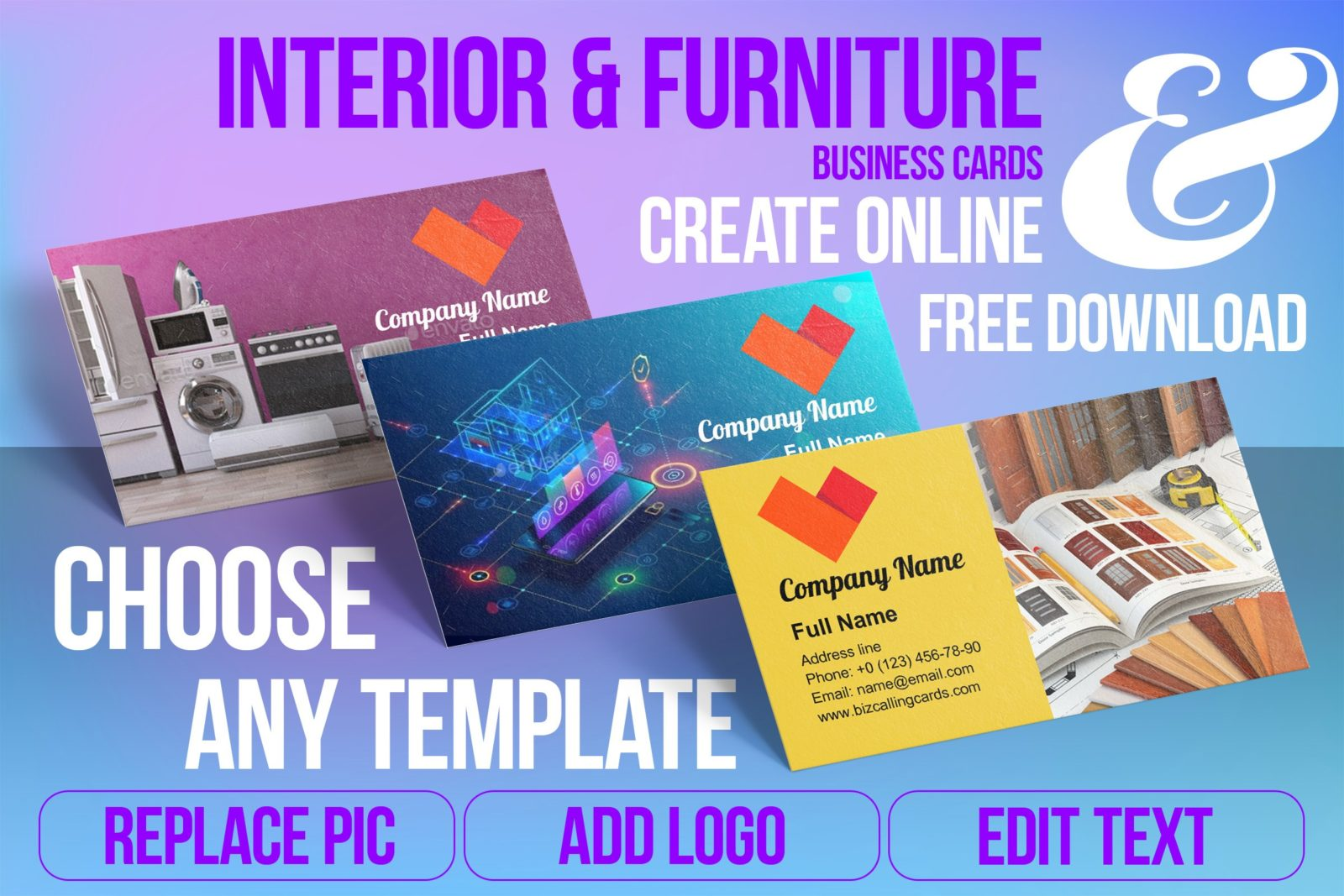 Business Card Templates For Interior & Furniture Free Download
