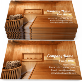 Interior of wooden sauna Business Card Template