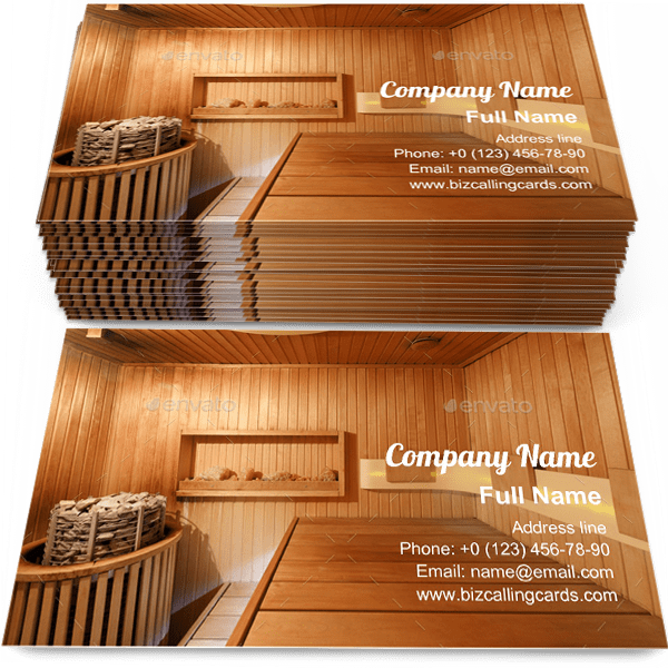 Sample of Interior of wooden sauna business card design for advertisements marketing ideas and promote wellness procedures branding identity