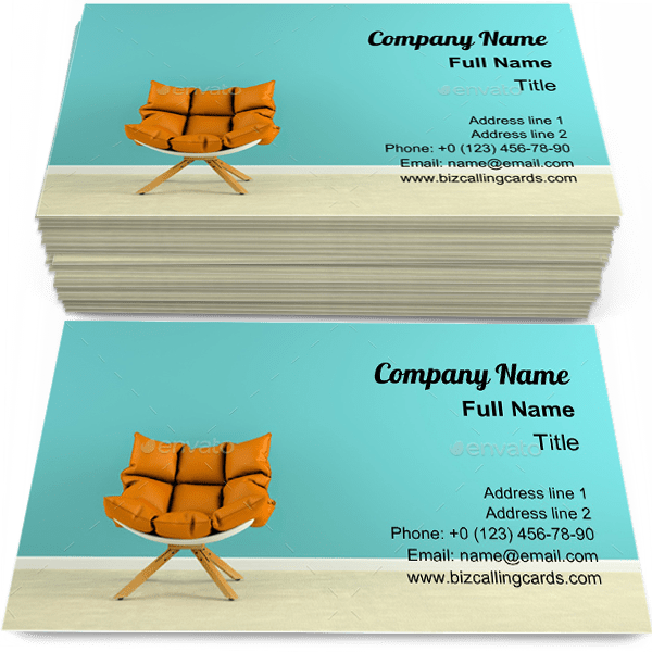 Sample of Interior with armchair business card design for advertisements marketing ideas and promote upholstery branding identity