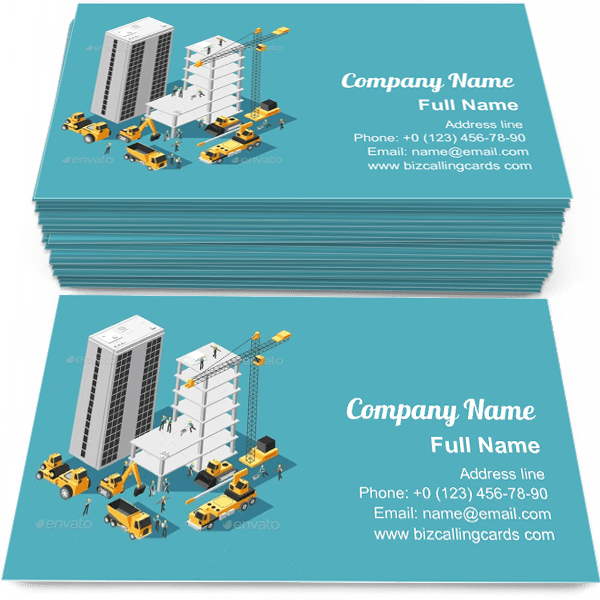 Sample of Isometric Building Construction business card design for advertisements marketing ideas and promote engineering branding identity