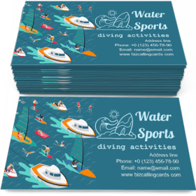 Isometric water sports Business Card Template