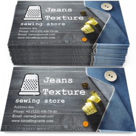 Jeans texture on wood Business Card Template