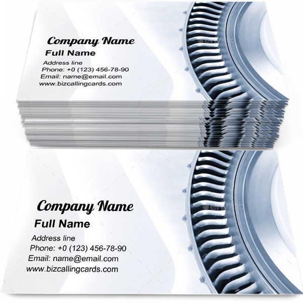 Sample of Jet engine blades business card design for advertisements marketing ideas and promote aviation industry branding identity