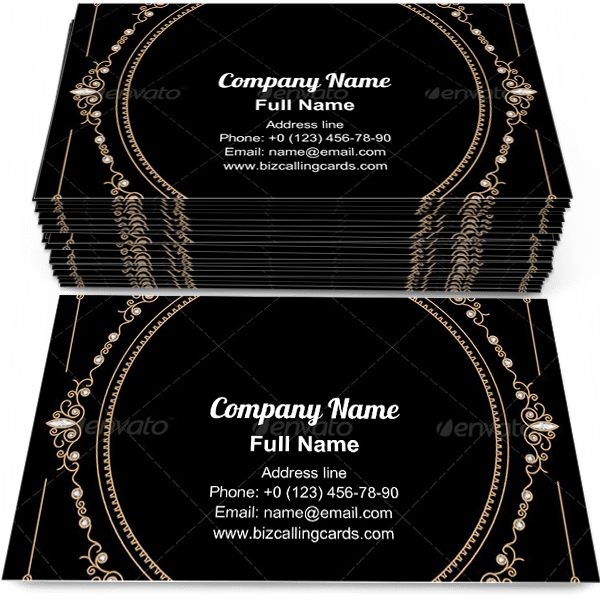 Create Online Jewelry Gold Frame Business Card Template