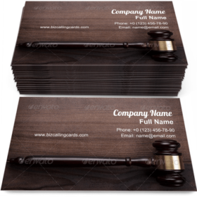 Judge Gavel On Wooden Business Card Template