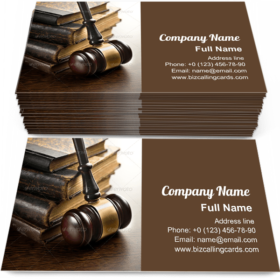 Judge gavel with old books Business Card Template