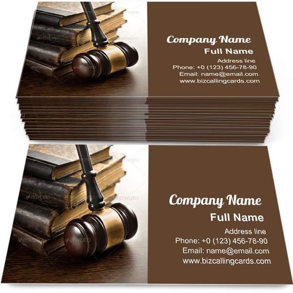 Sample of Judge gavel with old books business card design for advertisements marketing ideas and promote legislation branding identity