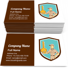 Key on palm hand Business Card Template