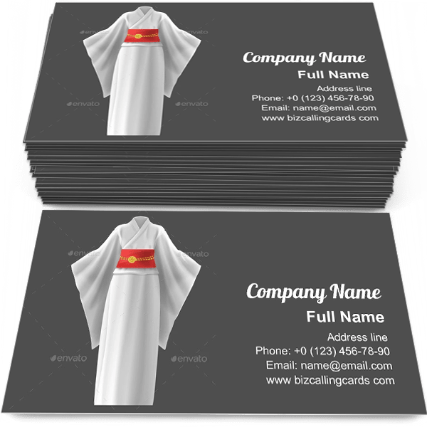 Sample of Kimono Woman Dress business card design for advertisements marketing ideas and promote Japanese branding identity