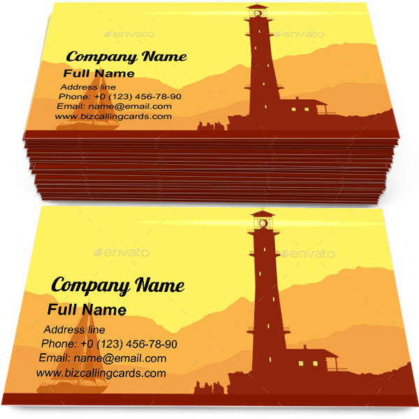 Sample of Landscape with Lighthouse calling card design for advertisements marketing ideas and promote navigation branding identity