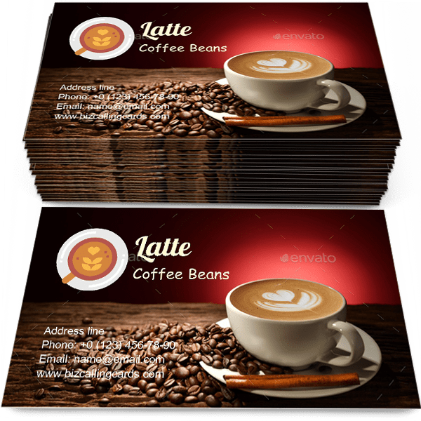 Sample of Latte and coffee beans calling card design for advertisements marketing ideas and promote Coffee Crop branding identity