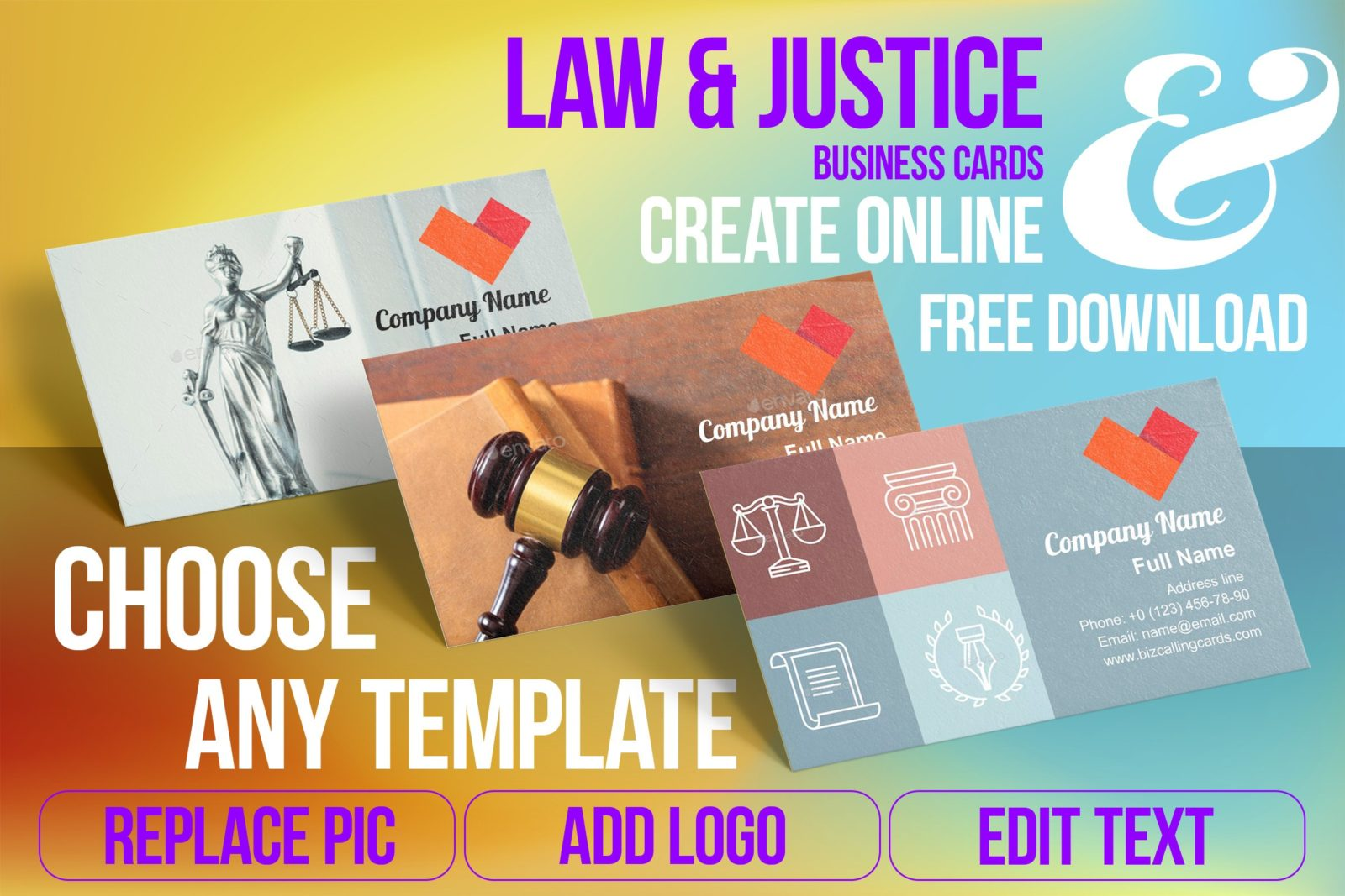 Business Card Templates For Law & Justice Free Download