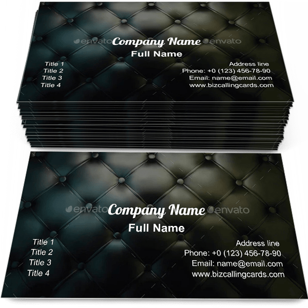 Sample of Leather Background business card design for advertisements marketing ideas and promote luxury branding identity