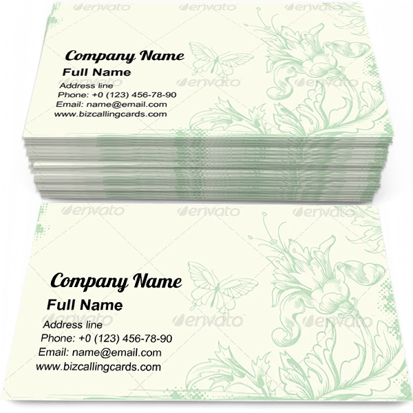 Sample of Leaves and flowers business card design for advertisements marketing ideas and promote victorian style branding identity