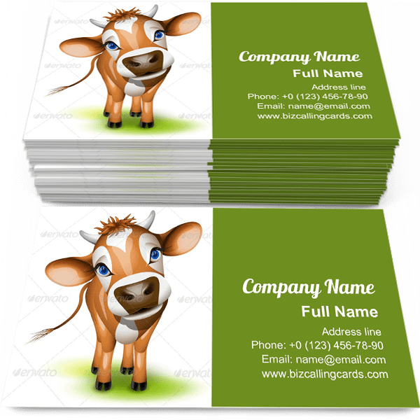 Sample of Little jersey cow business card design for advertisements marketing ideas and promote green ground branding identity