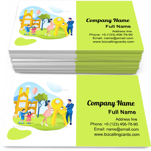 Sample of Loan Mortgage for Family business card design for advertisements marketing ideas and promote Real Estate branding identity