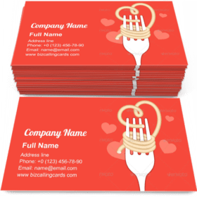 Love noodles food Business Card Template