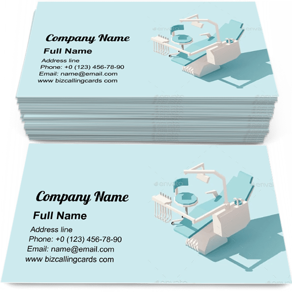 Sample of Low Poly Dental Chair business card design for advertisements marketing ideas and promote Oral Medicine branding identity