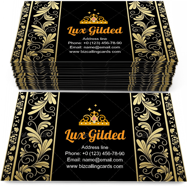 Sample of Luxury Gilded Floral calling card design for advertisements marketing ideas and promote medieval practice branding identity