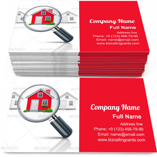 Sample of Magnifying glass find house business card design for advertisements marketing ideas and promote development branding identity