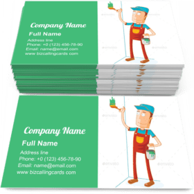 Man Paint the Wall Happily Business Card Template