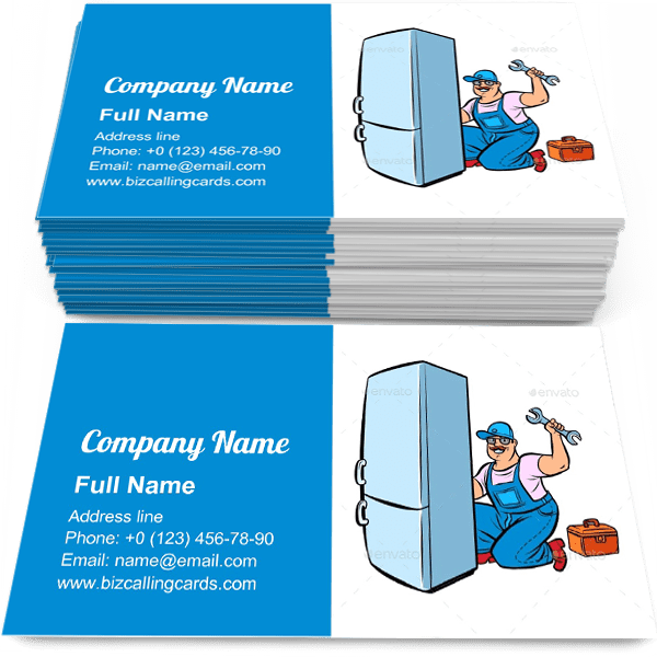 Sample of Master Refrigerator Repair calling card design for advertisements marketing ideas and promote equipment master branding identity