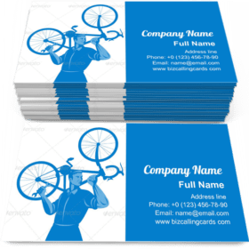 Mechanic Holding Bicycle Business Card Template