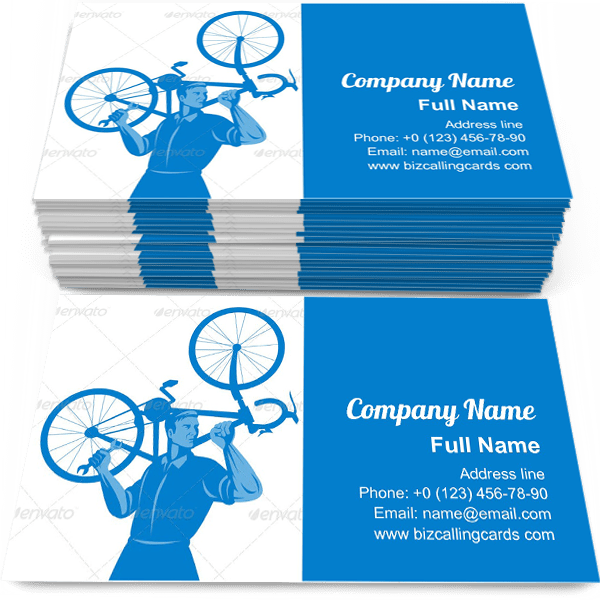 Sample of Mechanic Holding Bicycle calling card design for advertisements marketing ideas and promote cyclist repairman branding identity