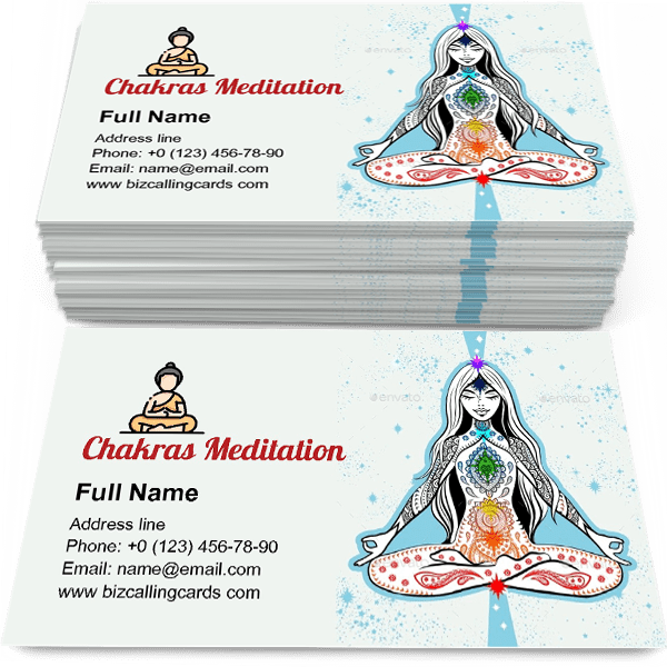 Sample of Meditation with Chakras calling card design for advertisements marketing ideas and promote yoga training branding identity